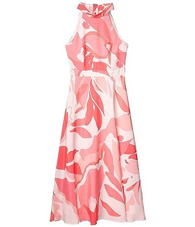 Tahari by ASL Sunburst Charmeuse Floral Maxi Halter Dress (Pink Swirl) Women