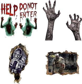4Pcs Halloween Wall Door Sticker Set Horrible Wall Decal Window Decor Party Supplies Lifelike Creepy Sticker Kit for Haunt...
