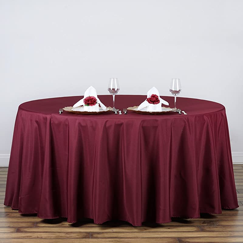 LinenTablecloth 120 Inch Round Polyester Tablecloth Burgundy