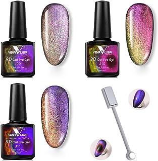 3Pcs Set 9D Cat Eyes Magnetic Gel Polish + Magnet Stick Nail Art Design Soak Off Enamel UV Gel Lacquer Varnish