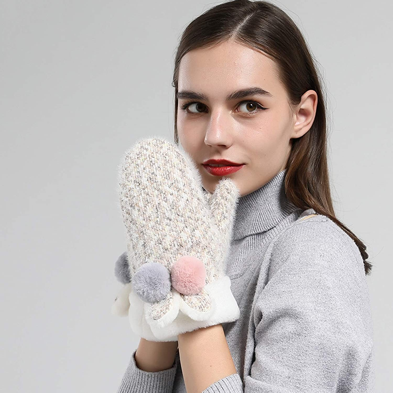 Gloves Gloves Women Winter Plus Velvet Double-Layer Thick Knitted Plush Hanging Neck Cold Gloves (Color : Khaki)