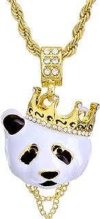 metaltree98 Hip Hop Rapper Rap Crown Panda Pendant 4 mm 24