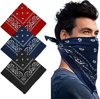 Bandana Head Scarf - 3 Pack Bandana Headband Multifunctional Cotton Paisley Print Neckerchiefs Fashion Hair Accessory For ...