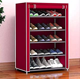 Cmerchants Smart Buy Home Utility Portable Space Saving 5 Layer Shoe Rack Organizer Stand (Maroon)