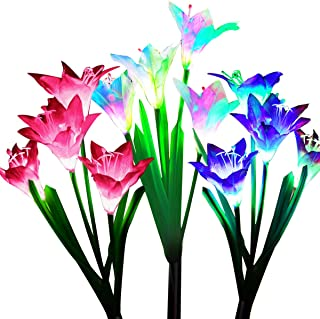 Wohome Outdoor Solar Garden Stake Lights,3 Pack Solar Powered Lights with 12 Lily Flower, Multi-Color Changing LED Solar L...