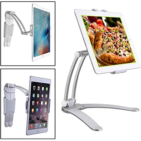 SortCircuit ST-667 FreeStyle Tablet Stand   Tablet Mobile Wall Mount   Kitchen Office Professional Tablet Stand   Compatible with iPad, Samsung Galaxy, iPhone, Kindle Fire and All Tablets/Mobile from 5.5 to 10 inches (Wall Mount/Metal Body)