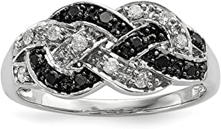 925 Sterling Silver Rhod Plated Black White Diamond Band Ring Fine Jewelry For Women Gift Set