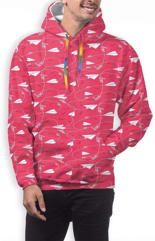 Men's Hoodies Sweatshirts,Romantic Pastel Colored Scribble Random Shapes Hearts Springtime Floral