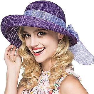 TYTZSM Sombrero de Paja de Las señoras del Sombrero para el Sol Sombrero Plegable Sombrero de ala Ancha Sombreros de Playa de Verano para Mujeres niñas (Color : Purple)