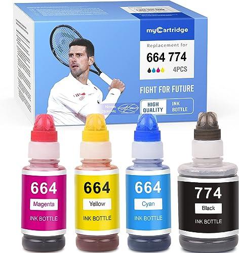 wholesale MYCARTRIDGE Compatible Ink Bottle Replacement for popular Epson T774 774 T664 664 Refill for ET-2650 L1210 ET-16500 ET-2550 L355 L120 ET-4550 L350 ET-4500 L350 lowest ET-4500 (Black, Cyan, Magenta, Yellow, 4-Pack) online sale