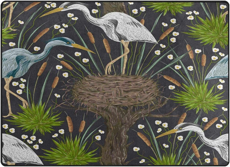 SUABO 80 x 58 inches Area Rug Non-Slip Floor Mat Bird Nest Printed Doormats Living Room Bedroom