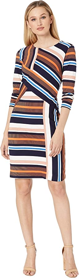 Color Blocked Stripe Knit Dress with Long Sleeves