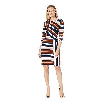 eci Color Blocked Stripe Knit Dress with Long Sleeves (Navy/Orange) Women