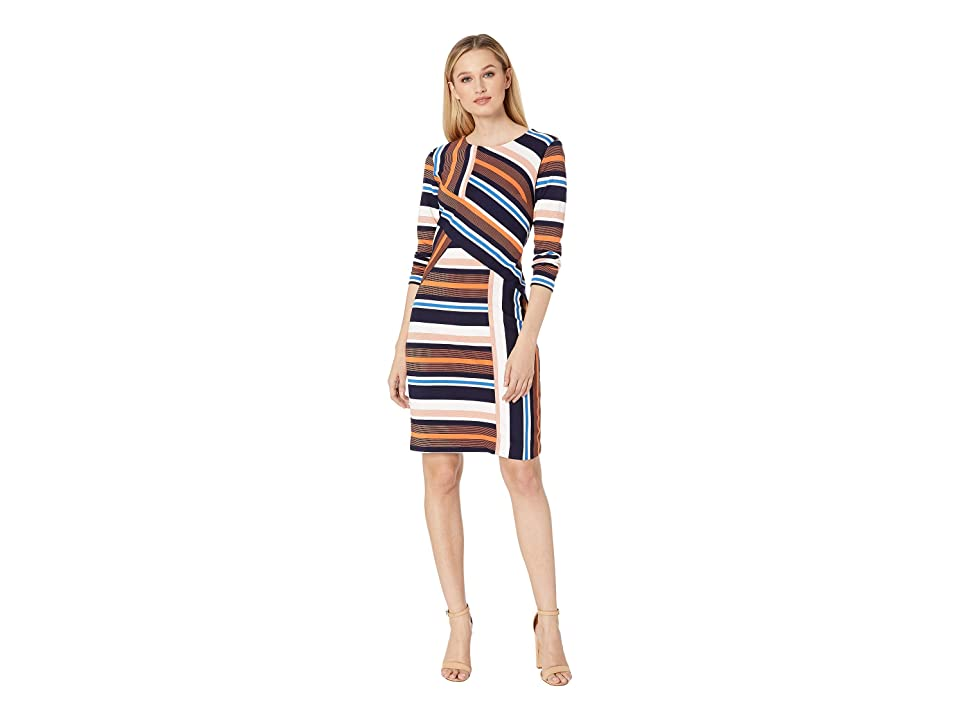 eci Color Blocked Stripe Knit Dress with Long Sleeves (Navy/Orange) Women