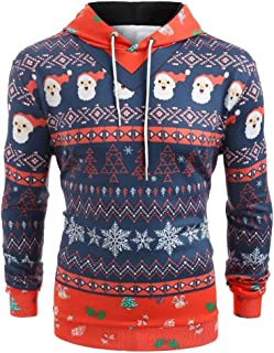 Shusuen ☸ Male Festival Suit 3D Print Pattern Pullover Long Sleeve Hoodie Men Casual Christmas Costumes