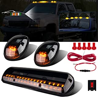 LIMICAR 3X Smoked Cover Cab Roof Top Marker Running Lamps Amber 30 LED Lights Compatible w/ 2002-2007 Chevrolet Silverado/GMC Sierra 1500 1500HD 2500 2500HD 3500 Trucks w/Cab Marker Lights