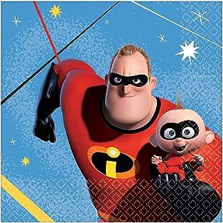 "16 Disney Pixar Incredibles 2 Superhero Birthday Party 5"" Beverage Napkins"