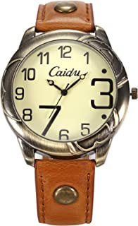 HELMASK watch - Synthetic Leather Red Round women lady girl Fashion Analog quartz Wrist Watch