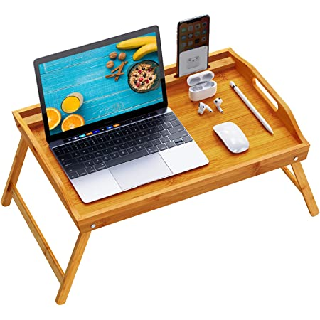 Serving Breakfast Media Bed Tray As a TV Table Bed Tray Table with Folding Legs Snack Tray with Moso 100/% Natural Bamboo Laptop Computer Tray