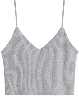 SheIn Women`s Casual V Neck Sleeveless Ribbed Knit Cami Crop Top