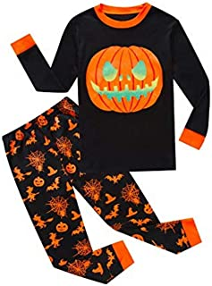 Baby Boys Girls Pumpkin Print Long Sleeve T Shirt Tops Pants Halloween Pajamas Set