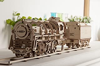 UGEARS Locomotive with Tender Mechanical 3D Puzzle, Wooden Construction Set, Business Gift, Christmas and Thanksgiving Present, Adult Craft Set