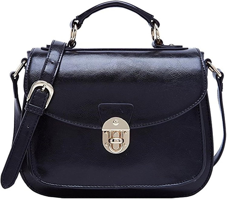 Leather Handbags Shoulder Bag Top Handle Tote Satchel for Ladies BlackB