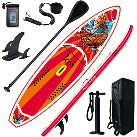 FEATH-R-LITE Inflatable Stand Up Paddle Board 11'6'' × 34'' × 6'' for Youth & Adult with Inflatable SUP Board, Non-Slip Deck, Travel Backpack, Adj Paddle, Pump, Leash, Water Proof Bag