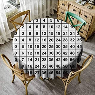 SEMZUXCVO Soft Round Tablecloth Mathematics Classroom Decor Machine Washable Multiplication Table in Black and White Education Learning D67 Black White