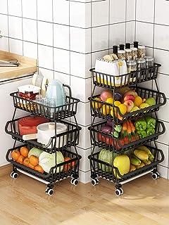 RETMI Corbeille à fruits noire avec 4 roulettes - 3 niveaux - Pour organiser la cuisine, le garde-manger, la salle de bai...