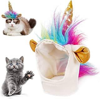 Pet Unicorn Hat for Cats Adorable Cat Unicorn Costume in Halloween Christmas Party, Cute Cat Unicorn Hat for Kitty Small D...