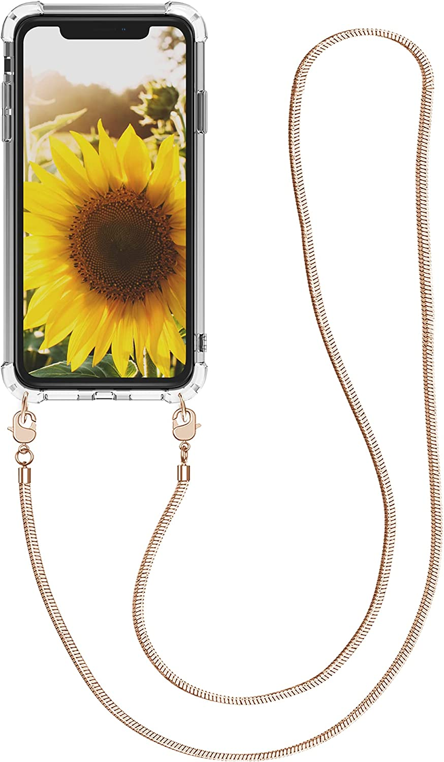 kwmobile Case Compatible with Apple iPhone XR - Crossbody Case Clear Transparent TPU Phone Cover with Metal Chain Strap - Transparent/Rose Gold