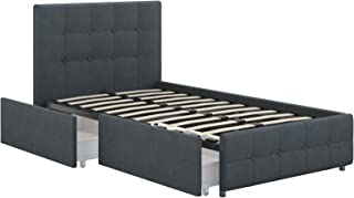 DHP Rose Storage Upholstered Bed, Blue Linen, Twin