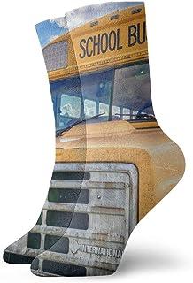 ames, Bus School Bus America Usa Niños Hombres y mujeres Moda Cute Novedad Divertido Casual Art Crew Calcetines