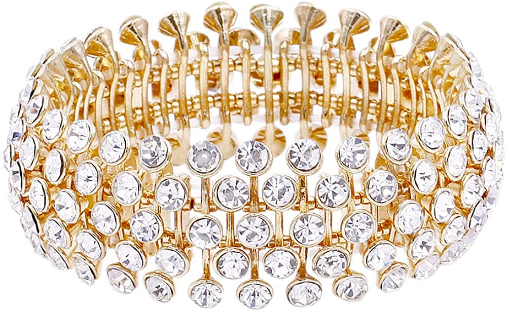 Tennis 5 Row Rhinestone Stretch Bracelets Bridal Evening Party Jewelry For Woman Bangle
