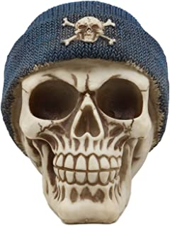 Ebros Gangster Thug Skull with Blue Crossbones Beanie Hat Figurine 6