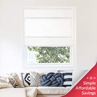 Chicology Cordless Magnetic Roman Shades / Window Blind Fabric Curtain Drape, Thermal, Light Filtering - Mountain Snow, 23