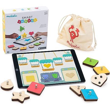 Marbotic - Smart Shapes pour iPad - Age : 3 Ans et Plus - Formes & Couleurs Interactives en Bois - Jeux Éducatifs Manuels - Développe Les Capacités d'Observation, Déduction & Communication