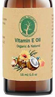 Organic Vitamin E Oil - D-Alpha Tocopherol - Natural Ingredients - Includes Jojoba Oil, Coconut Oil and Vitamin C - Stimulates Collagen Growth - Non-GMO - Helps with Scars & Stretch Marks (15ml/.5oz)