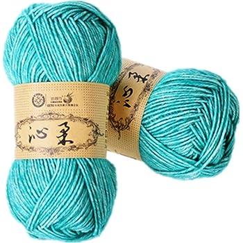 2 Madejas hilo de mano tejer algodón crochet hilo de bebé de algodón cálido Baby DK Line, 7 colores diferentes: Amazon.es: Hogar
