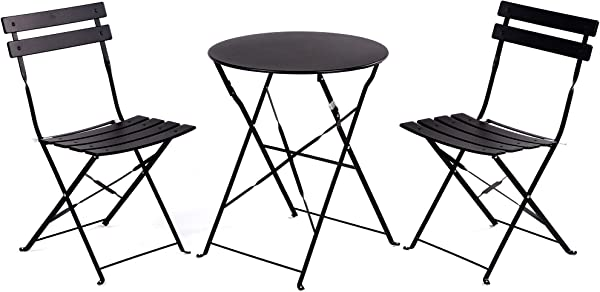 Grand Patio Premium Steel Patio Bistro Set Folding Outdoor Patio Furniture Sets 3 Piece Patio Set Of Foldable Patio Table And Chairs Black