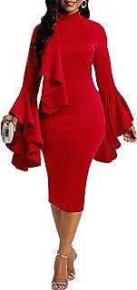 VERWIN Flare Long Sleeve Falbala Women's Bodycon Dress Sheath Dress Ruffle Party Dress