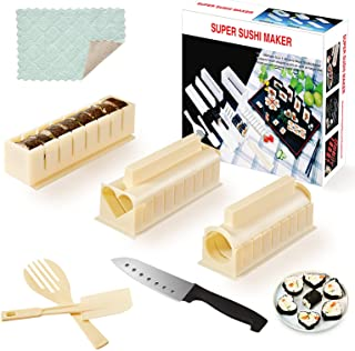 Sushi Making Kit- All In One Sushi Set 10 Piece Plastic Sushi Maker Tool with 8 Different Shapes of Sushi Rice Roll Mold S...