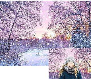 Allenjoy Winter Snowing Landscape Backdrop Christmas Wonderland Snowflake Bokeh Glitter Forest Snow Scene Pine Tree Bokeh Kids Family Photo Booth Props Baby Shower 7x5ft Photography Background