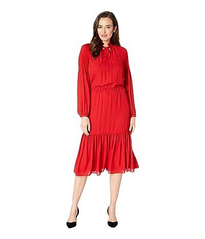 LAUREN Ralph Lauren Georgette Dress (Lacquer Red) Women