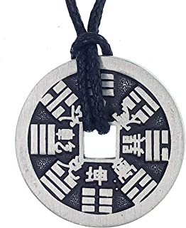 Chinese Lucky Jewelry 2 sided iching coin protection Amulet medallion Silver Pewter Pendant Charm Men's Women's Boy's Gir...