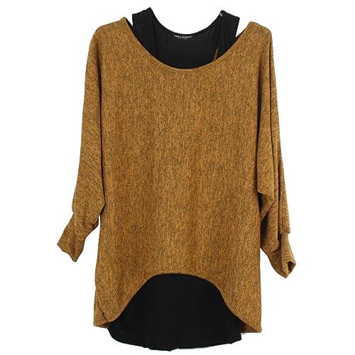 10f7b9435278 Emma   Giovanni - Damen Oversize Oberteile Tshirt Pullover (2 Stück)