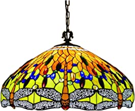 24 Inch Large Dragonfly Tiffany Style Pendant Lighting for Living Room,Handmade Stained Glass Maroon Large Lampshade Chand...