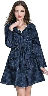Aeman Women's Lightweight Raincoat Waterproof Packable Outdoor Hooded Rain Jacket Windbreaker