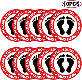 Social Distancing Floor Decals Stickers - 12'' Round Waterproof Safety Floor Marker Stickers - Please Keep 6 Feet Apart Decal - for Crowd Control Guidance, Grocery, Pharmacy, and Bank(10 Pack)